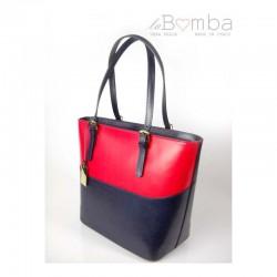 Červeno-modrá dámská kožená kabelka VERA PELLE T88BSB