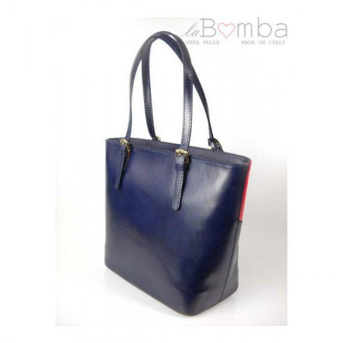 75537d473432 EBIES.CZ - Modrá dámská kožená kabelka VERA PELLE T88BS