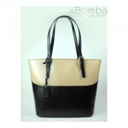 Bílo-černá dámská kožená kabelka VERA PELLE T88NT