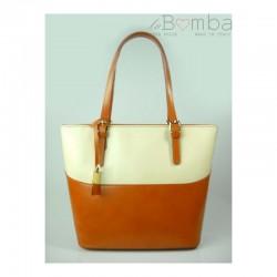 Bílo-hnědá dámská kožená kabelka VERA PELLE T88CE