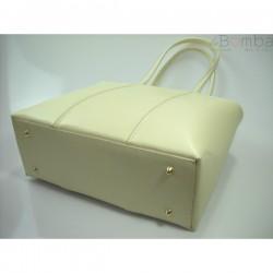 Bílá dámská kožená kabelka BORSE IN PELLE T99E