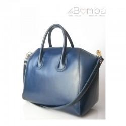 Modrá (tmavá) dámská kožená kabelka VERA PELLE P1BS