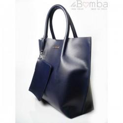 Modrá (tmavá) dámská kožená kabelka la BOMBA SB4020BS