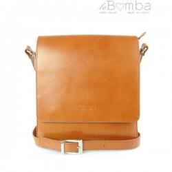 Hnědá (světlá) pánská kožená crossbody taška LVP119C