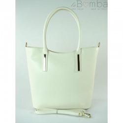 Bílá dámská kožená kabelka VERA PELLE VP47B