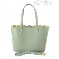 Zelená (blankytná) dámská kožená kabelka VERA PELLE SB444T