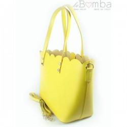 Žlutá dámská kožená kabelka VERA PELLE SB444GL