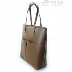Hnědá (tmavá) dámská kožená kabelka VERA PELLE SB515M