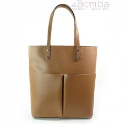 Hnědá (světlá) dámská kožená kabelka VERA PELLE SB515C