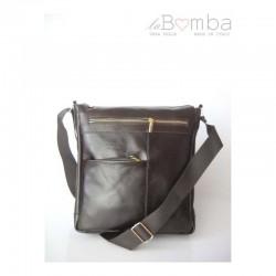 Černo-hnědá pánská kožená crossbody taška LM8T