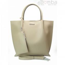 Šedá (světlá) dámská kožená kabelka la BOMBA SB4020G2